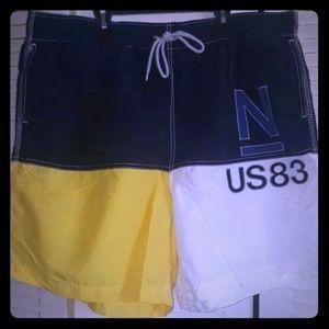 90's Vintage Nautica Big Logo Swim Shorts sz XXL